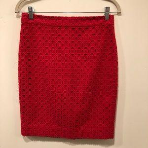 J. Crew Factory Pencil Skirt Red Eyelet